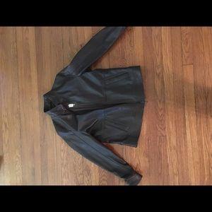 Sleek Men's Michael Kors Brown Leather Jacket